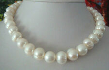 classic 12-13MM south sea natural baroque white pearl necklace 18inch 14K