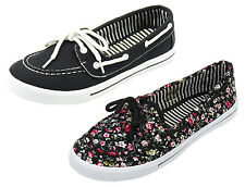 New Girls Canvas Boat Shoes Black Floral Loafers Flats Slip On Kids Tennis Dress