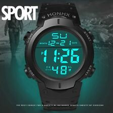 Men's Waterproof Silicone LED Digital Watch Stopwatch Date Rubber Sport Military