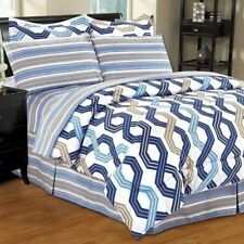 Twin Full Queen King Bed Bag Blue Tan Geometric Stripe 8pc Comforter Set Bedding
