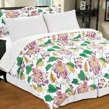 Twin Full Queen King Bed Bag Pink Green Floral Stripe 8 pc Comforter Set Bedding