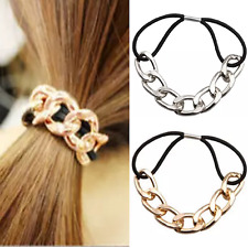 Fashion Gold Silver Metal Chain and Elastic Ponytail Holder Hair Band Tie
