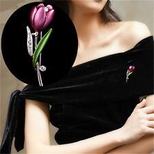 Rhinestone Jewelry Tulip Flower Brooches Crystal Brooches 1Pcs Elegant