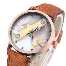 Canvas Retro Quartz Analog Stars Airplane Watch Wrist Watch Femmes Unisex 1Pcs
