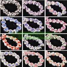 10/20Pcs Heart Charms Round Ceramic Porcelain Loose Spacer Beads Making 14mm New