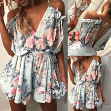 New Women Summer Sexy Backless Playsuit V Neck Printed Elastic Waist Jumpsuit