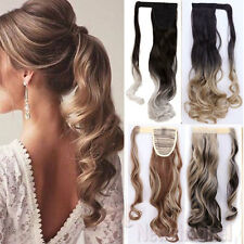 100% Real Natural Clip In Hair Extension Pony Tail Wrap On Ponytail Ombre Blonde
