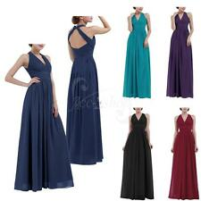 Womens Halter V Neck Bridesmaid Long Evening Cocktail Prom Ball Gown Dress 4-16