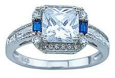 925 Sterling Silver Princess Cut Clear & Sapphire Blue CZ Engagement Ring 5 - 9
