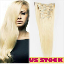 US STOCK 100% Real Hair Clip In Remy Human Hair Extensions 7 pcs set #613 Blonde