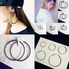 Circle Round Loop Hoop  Gold Plated Twisted   Earrings for Women Sexy Oversized