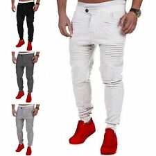Men Jogging Long Pencil Pants Elastic Slim Pleated Stripe Pockets Pant Gym Sport