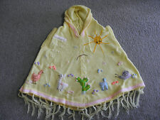 New Made In Peru Arpillera Poncho with Hood Size 6 Soft Spring Yellow #123107