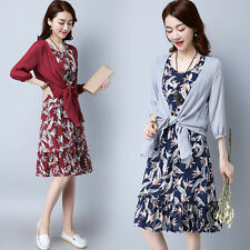 New Flounced Foral Women Korean Vintage Crewneck Sleeveless Two Pieces Dress Set