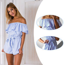 Blue Striped Summer Women Short Trousers Sexy Rompers Cotton Hot