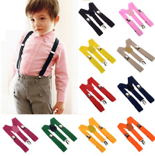 Unisex Kids Boy Girls Clip-on Suspenders with Adjustable Elastic Braces