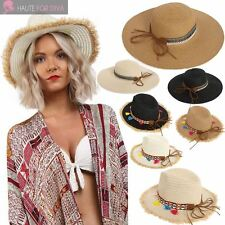 NEW WOMENS LADIES AZTEC FLORAL RIBBON TASSEL DETAIL SUMMER STRAW HAT