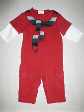 NWT Gymboree Snow Chillin Red Scarf Longall Romper Infant size 6-12 OR 12-18 mo