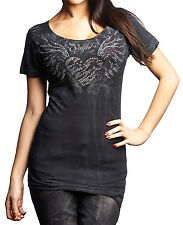 New Affliction Sinful Women Shirt Short Sleeves Heart Angel Wings in Black