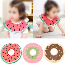 New Baby Toddler Infant Fruit Feeding Dribble Bib Round Saliva Towel Cloth GD