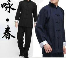 Chinese Kung Fu Mens Tang Suits Cotton Linen Tai Chi Uniform Costume Casual Coat
