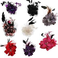 Fancy Feather Flower Brooch Clip Pin Wedding Lady Fancy Hair Barrette Corsage