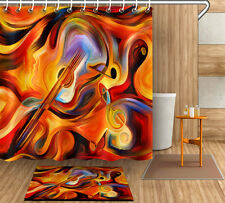"72/79"" Abstract Guitar Note Shower Curtain Bathroom Mat Waterproof Fabric 4099"