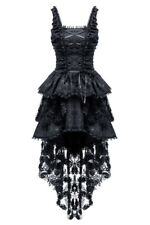 Strapless dress black lacing,dentelle and embroidery floral gothic rom