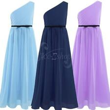 One-Shoulder Chiffon Girls Kids Pageant Formal Dance Party Wedding Prom Dresses