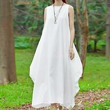 Plus Size Womens Dresses Solid Casual Loose Sleeveless Cotton Linen Retro Dress