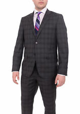 Mens Slim Fit Charcoal Gray Plaid Two Button Wool Suit