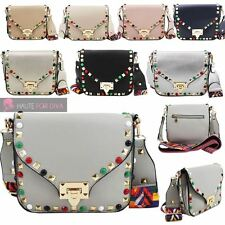 NEW LADIES STUD DETAIL FAUX LEATHER GOLD LOCK AZTEC STRAP SMALL CROSSBODY BAG