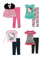 Hello Kitty Toddler Girls Leggings Outfit 12mo 3T Shirt Pink Black Mint NWT