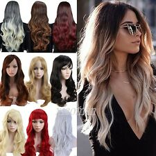 Women Long Full Wigs Ombre Brown Blonde Black mix Hair Wig Straight Wavy Curly M