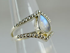 Blue Fire Rainbow Moonstone 925 Solid Sterling Silver Handmade Ring Size 3-14 US