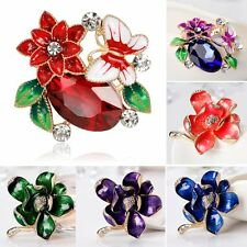 New Flower Butterfly Crystal Rhinestone Brooch Pin Womens Lady Wedding Jewellery