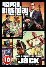 PERSONALISED GRAND THEFT AUTO 5 BIRTHDAY CARD GTA5 - LARGE A5 Grand Son Brother