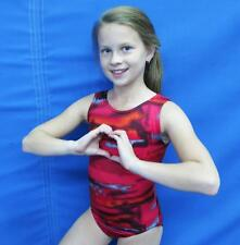 Gymnastics Leotard Girls sz 8-14 black gray red geometric design NEW leo