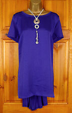 NEW EVANS LADIES PURPLE BLUE LOOSE FIT DIPPED HEM SUMMER TUNIC TOP UK SIZE 14-32