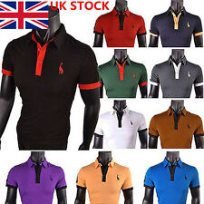 Mens Summer Casual Fashion Embroidery Short Sleeve Slim Fit T Shirt Polo Tops