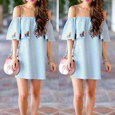Summer Women Off-Shoulder Ruffles Dresses Casual Party Cocktail Short Mini Dress