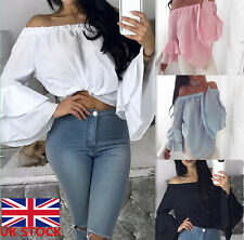UK Womens Ladies Bardot Gypsy Blouse Off Shoulder Long Bell Sleeve Tops Party