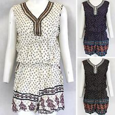 LADIES FLORAL PRINT PLAYSUIT WOMENS BEADED NECK TOP SHORTS SUMMER FESTIVAL LOOK