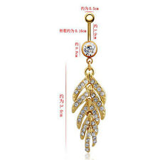 Belly Ring 1Pcs Feathers Navel Ring Leaves Rhinestones Navel Nails Piercing