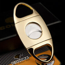 COHIBA Golden Stainless Steel Double Blades Cigar Cutter Guillotine US