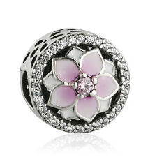 Authentic 925 Sterling Silver Enamel Pink CZ Bloom Flowers Charm Bead charms