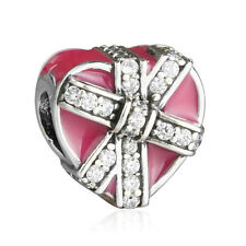 authentic 925 sterling silver genuine charms Beads Heart Enamel Ribbon Charm