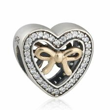 authentic 925 sterling silver 14k Gold Bound By Bow Heart Bead charms Beads