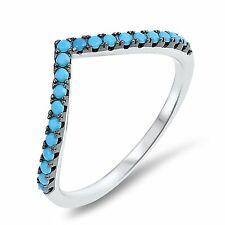Turquoise Chevron Eternity Sterling Silver Add on Ring