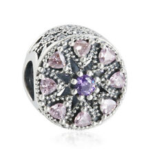 authentic 925 sterling silver Charm Mixed CZ Crystal Stone Abstract Medallion